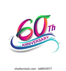60th anniversary celebration logotype green and red colored. sixty years birthday logo on white background.