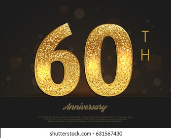 60th anniversary decorated greeting/invitation card template.
