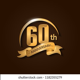 60th Anniversary design logotype. Anniversary logo design with swoosh and elegance golden ribbon. Vector template for use celebration, invitation card, and greeting card