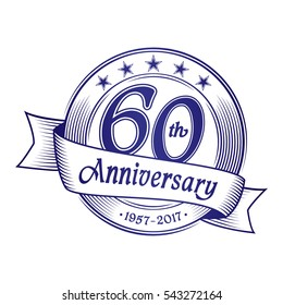 60th Anniversary design template. Vector and illustration.