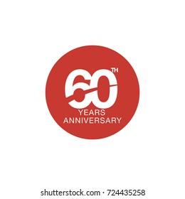 60th anniversary emblem. Sixty years anniversary celebration symbol