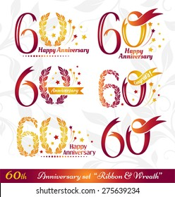 60th anniversary emblems set. Celebration icons with numbers ribbons, wreath and fireworks