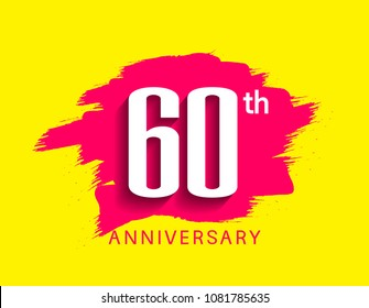 60th anniversary flat design pink brush on yellow background for celebration event