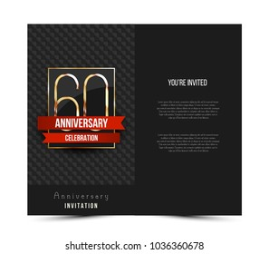 60th anniversary invitation card template. Vector illustration.