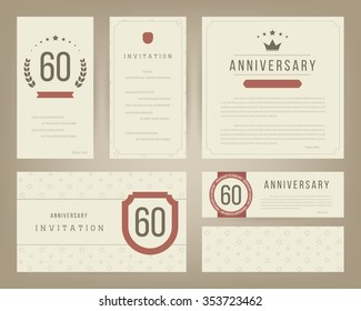 60th anniversary invitation cards template.
