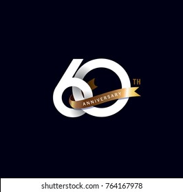 60th anniversary logo with gold ribbon. template design for web, game ,Creative poster, booklet, leaflet, flyer, magazine, invitation card