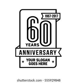 60th anniversary logo. Vector and illustration. Celebration design template.