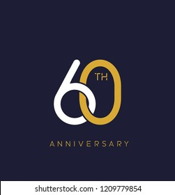 60th anniversary logo.overlapping number with simple monogram color. vector design for greeting card and invitation card.