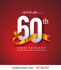 60th Anniversary Logotype With Golden Ribbon Isolated On Red Elegance Background Vector Design For Birthday