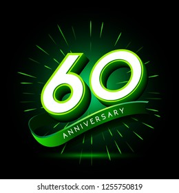 60th anniversary neon text vector design template. green number neon logo, light banner design element colorful design trend, night bright advertising neon text anniversary event party template