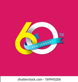 60th Anniversary simple emblems, template design for web, game ,Creative poster, booklet, leaflet, flyer, magazine, invitation card