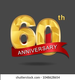 60th anniversary years celebration logotype. Logo gold numbers and ribbon gray background.
