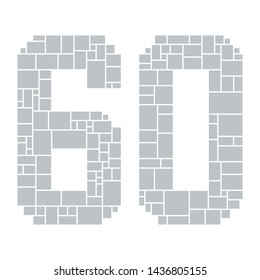 60th Birthday / Anniversary Numbers Vector Mood Board & Branding Presentation. Creative Theme Number Concept Mood Board, Anniversary Celebration, Birthday Celebration. Picture Display & Montage.