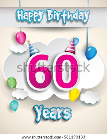 60th Birthday Celebration Design With Clouds And Balloons Greeting Card Invitation For