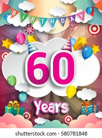 60th Birthday Celebration Greeting Card Design With Clouds And Balloons Vector Elements For The