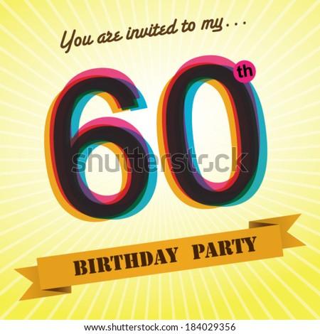 60th Birthday Party Invite Template Design In Retro Style