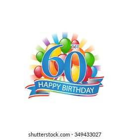 60th colorful happy birthday logo with balloons and burst of light