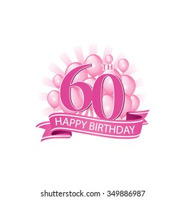 60th pink happy birthday logo with balloons and burst of light