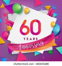 60th Years Anniversary Celebration Design, balloons and ribbon, Colorful design elements for banner, invitation, greeting card your sixty birthday celebration party.