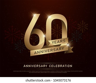 60th years anniversary celebration gold number and golden ribbons with fireworks on dark background. vector illustration