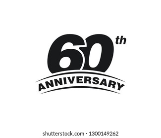 60th Years Anniversary Celebration Icon Vector Logo Design Template