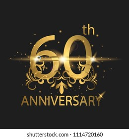 60th years anniversary celebration. 60th anniversary logo with gold color, foil, sparkle