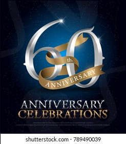 60th years anniversary celebration silver and gold logo with golden ribbon on dark blue background. vector illustrator