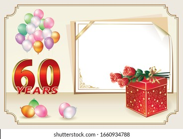 60th years anniversary celebration, vector design with gift box, bouquet of roses and balloons, sheet  paper for message, birthday card