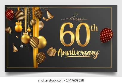 60th years anniversary design for greeting cards and invitation, with balloon, confetti and gift box, elegant design with gold and dark color, design template for birthday celebration.
