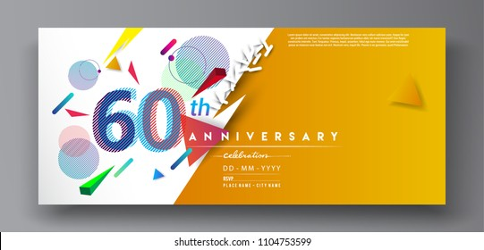 60th years anniversary logo, vector design birthday celebration with colorful geometric background and circles shape.