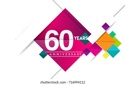 60th years anniversary logo, vector design birthday celebration with colorful geometric isolated on white background.