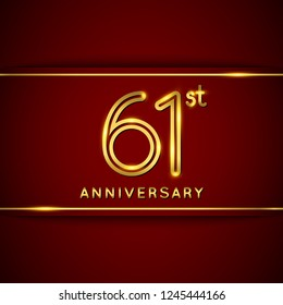 61 Sixty One Years Anniversary Logo with Shiny Golden Number on Red Background Isolated. 61st Celebration Event. Can Use for Poster, Invitation and Greeting Card. Easily Editable Vector.