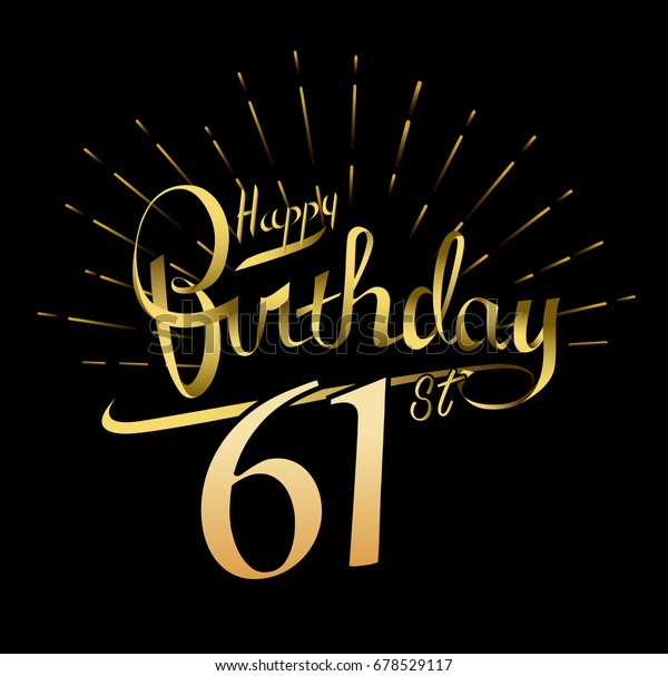 61st Happy Birthday Logo Beautiful Greeting Stock Vector