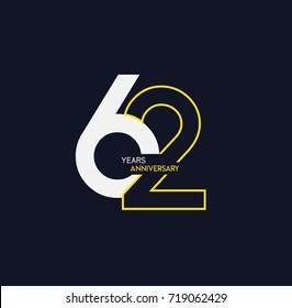 62 anniversary elegance gold logo. linked number with swoosh on black background