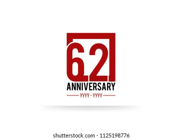 62 Anniversary logotype, simple red colored font number inside square isolated on white background