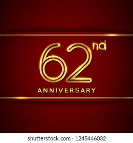 62 / Sixty Two Years Anniversary Logo with Shiny Golden Number on Red Background Isolated. 62nd Celebration Event. Can Use for Poster, Invitation and Greeting Card. Easily Editable Vector.