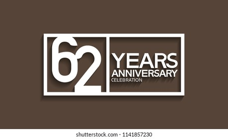 62 years anniversary celebration white square style isolated on brown background