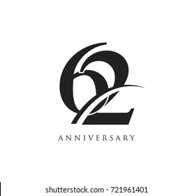 62 years anniversary pictogram vector icon, simple years birthday logo label, black and white stamp isolated