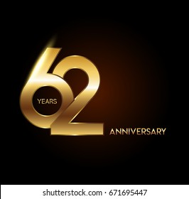 62 years gold anniversary celebration overlapping number logo, isolated on dark background