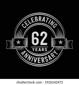 62 years logo design template. 62nd anniversary vector and illustration.
