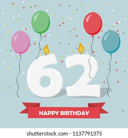 62nd birthday images stock photos vectors shutterstock 62 years selebration happy birthday greeting card with candles confetti and balloons m4hsunfo