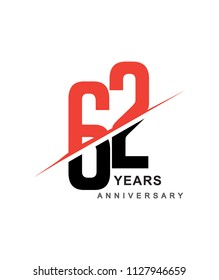 62nd anniversary logo red and black swoosh design isolated on white background for anniversary celebration.