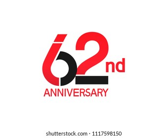 62nd anniversary red and black design simple isolated on white background for celebration