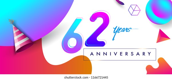 62nd years anniversary logo, vector design birthday celebration with colorful geometric background and abstract elements