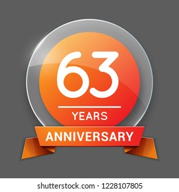 63 / Sixty Three Years Anniversary Logo with Glass Emblem Isolated. 63rd Celebration. Editable Vector Illustration.