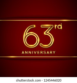 63 / Sixty Three Years Anniversary Logo with Shiny Golden Number on Red Background Isolated. 63rd Celebration Event. Can Use for Poster, Invitation and Greeting Card. Easily Editable Vector.