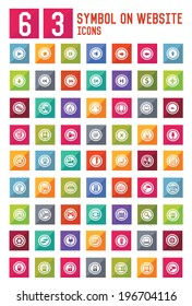 63 Symbol on website icon set,vector