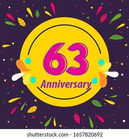 63 Years Anniversary Celebration Vector Template Design Illustration