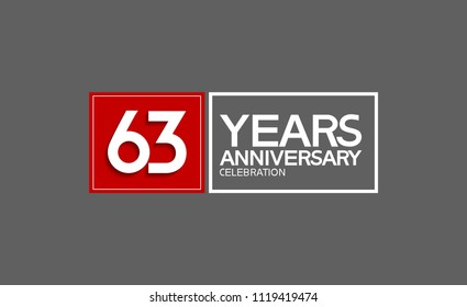 63 years anniversary design horizontal square style with red and white color for celebration event