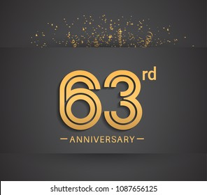 63rd anniversary design for company celebration event with golden multiple line and confetti isolated on dark background